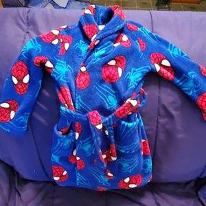 Marvel amazing spiderman fleece robe sz 6 euc